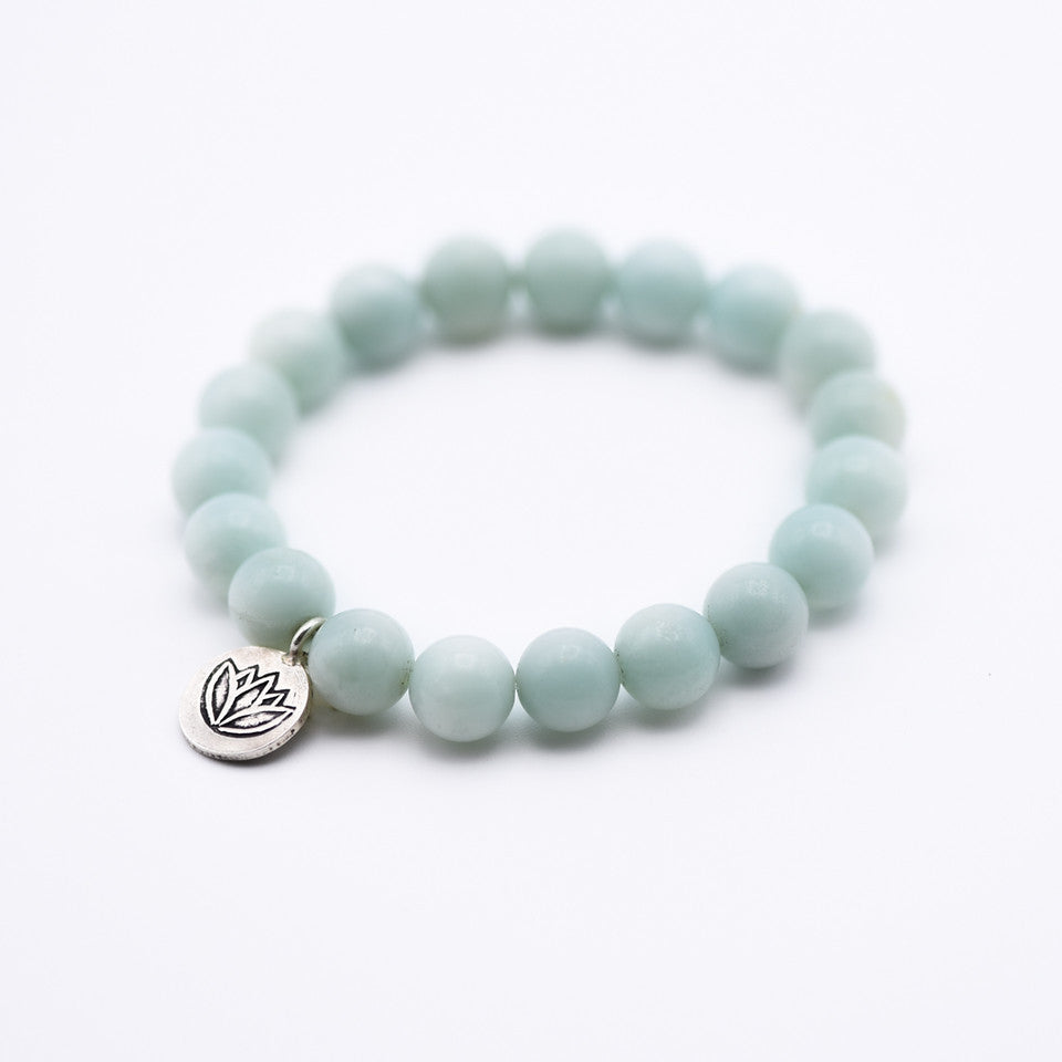 Amazonite and Lotus Bracelet
