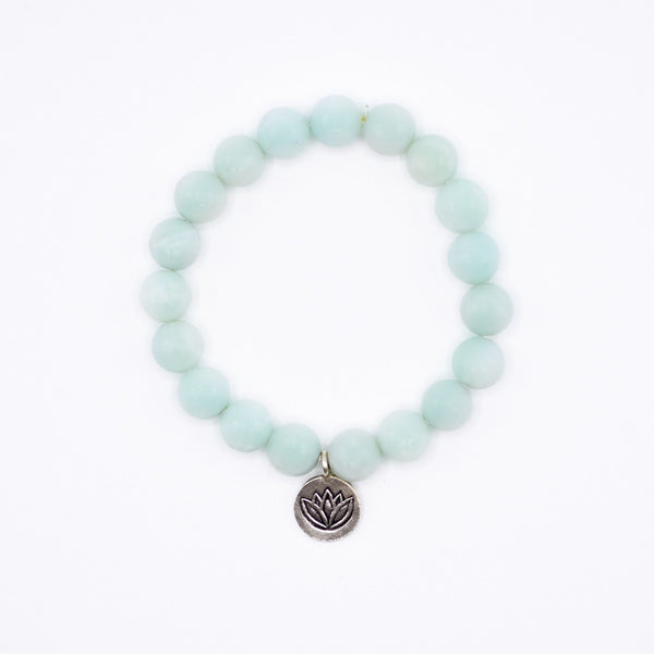 Amazonite gemstone and Lotus charm Bracelet.
