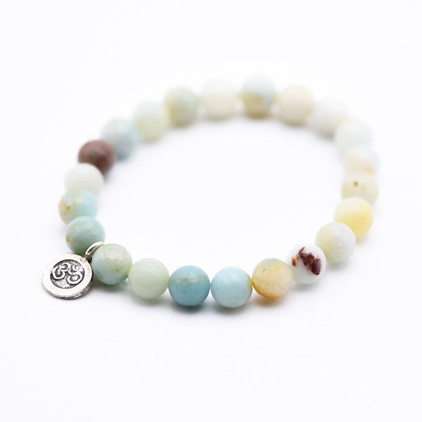 Amazonite Beaded bracelet with silver ohm charm, yoga bracelet