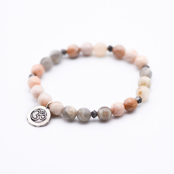 Gemstone Beaded Bracelet with Ohm charm