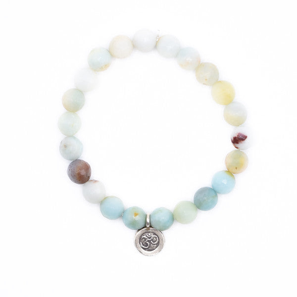 Amazonite Beaded bracelet with silver ohm charm, yoga bracelet, stack bracelet