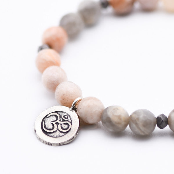 Gemstone Beaded bracelet Ohm Charm