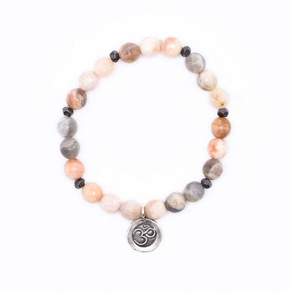 Pink Moonstone and Ohm Charm Bracelet