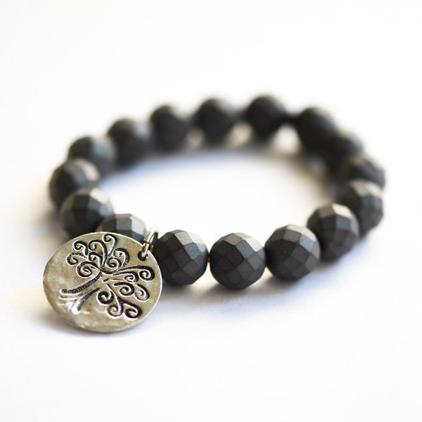 POWERFUL and POLISHED MATTE HEMATITE BRACELET with TREE of LIFE MEDALLION
