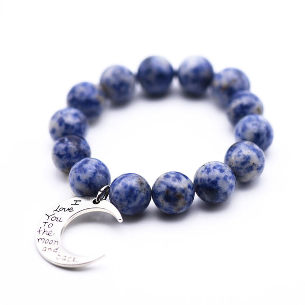 "BLUE SPOTSTONE WITH ""MOON AND BACK"" CHARM BRACELET"