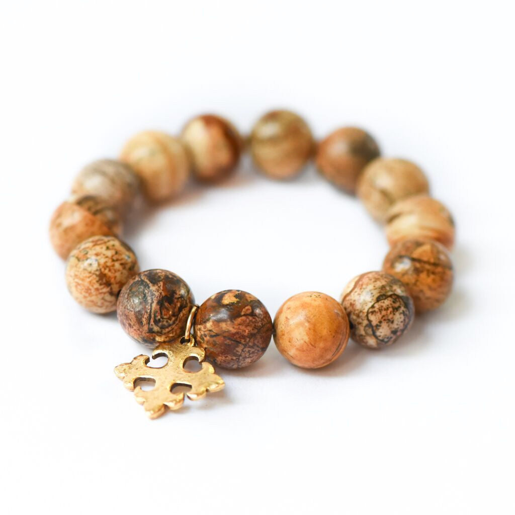 DESERT SAND JASPER WITH OLD WORLD CROSS BRACELET