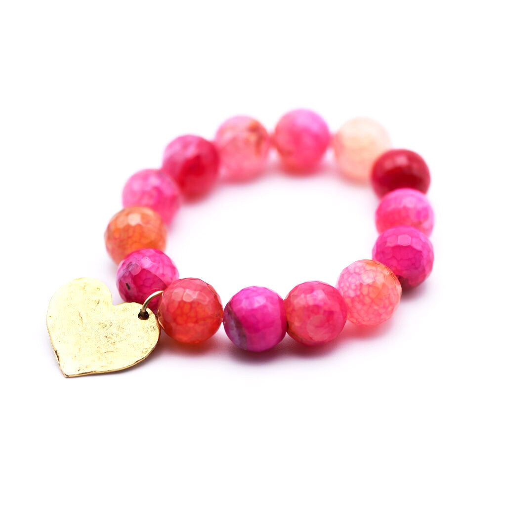 Fuschia Fire Agate Bracelet with Gold Hammered Heart