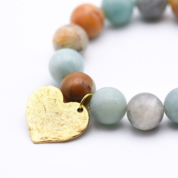 Amazonite Beaded Bracelet with Charm