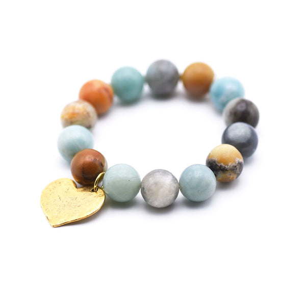Genuine Amazonite Bracelet with Hammered Heart