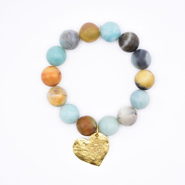 Gold Heart Charm Bracelet on Amazonite