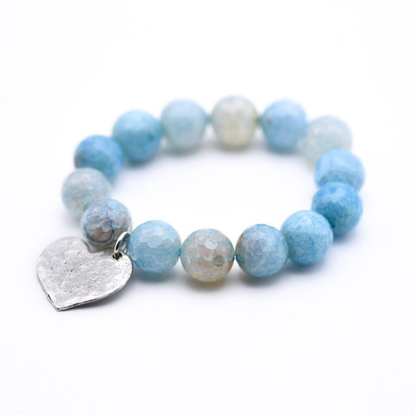 Agate Gemstone Beaded Bracelet with hammered silver heart charm, Gemstone bracelet