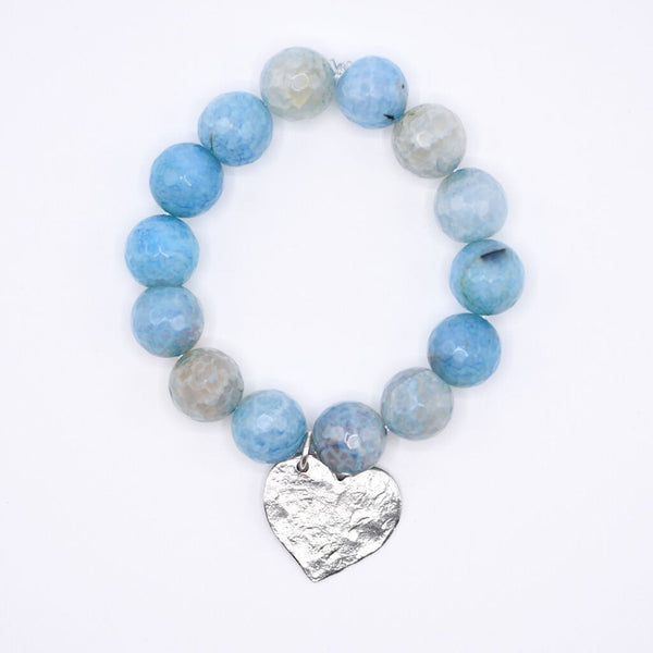 Aqua Stripe Agate gemstone beaded bracelet with hammered silver heart charm