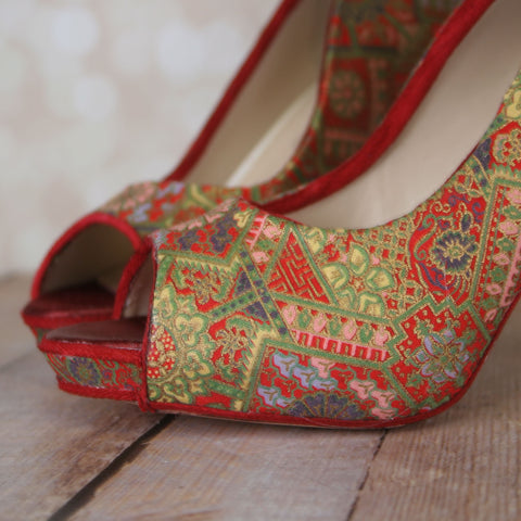 Ellie Wren Review Red Chinese Brocade Wedding Shoes Custom Wedding Shoes Ellie Wren