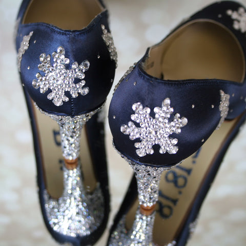 Ellie Wren Review Navy Blue Snowflake Wedding Shoes Custom Wedding Shoes Ellie Wren