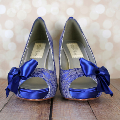 Ellie Wren Reviews Royal Blue Wedding Shoes Lace Wedding Shoes with Matching Bow and Satin Buttons Custom Wedding Shoes Ellie Wren