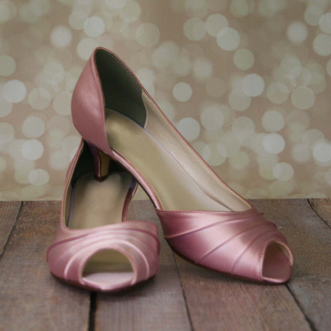 Antique Pink Kitten Heel Peep Toes - Ellie Wren
