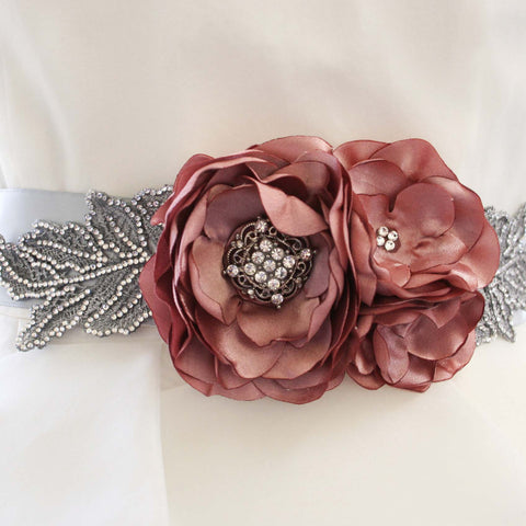 Antique Pink Floral Wedding Sash with Silver Crystal Leaves - Ellie Wren