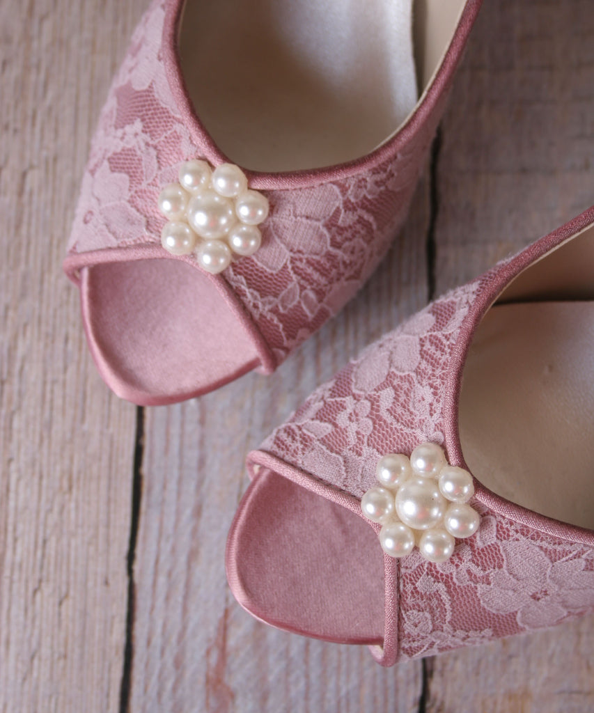 Antique Pink Catalina Wedding Shoes with Matching Satin Buttons (Color May Be Customized) - Ellie Wren