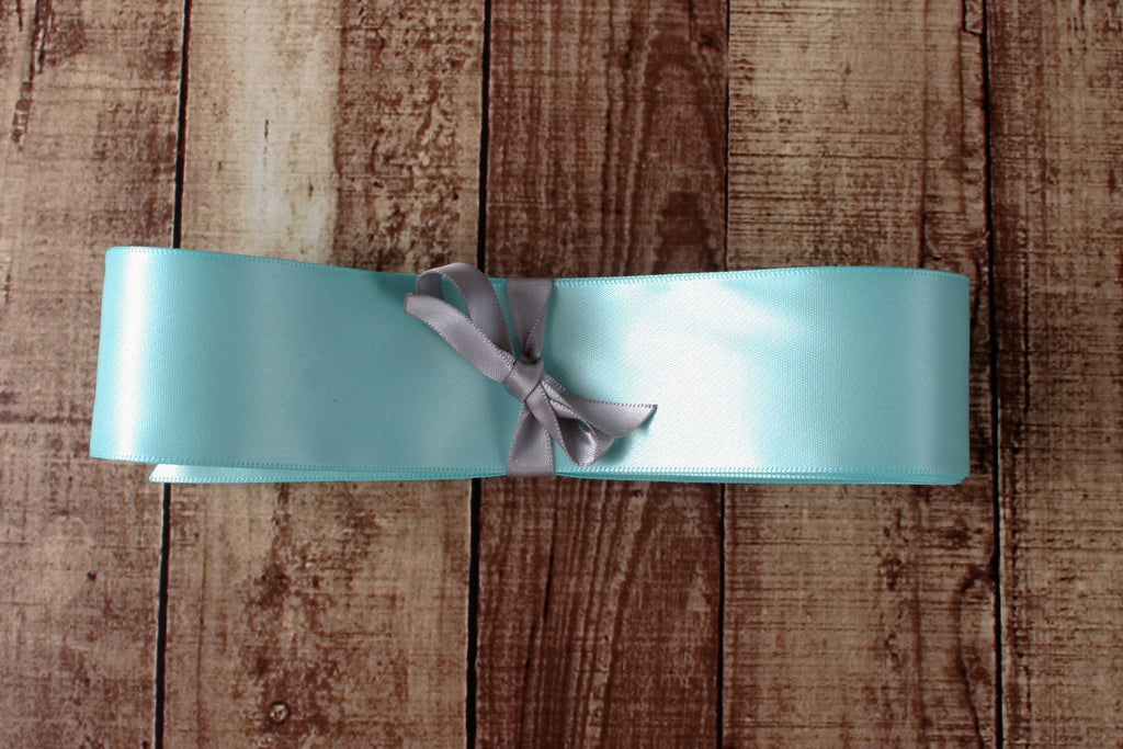 Simple Satin Wedding Dress Sash in Aqua - Ellie Wren