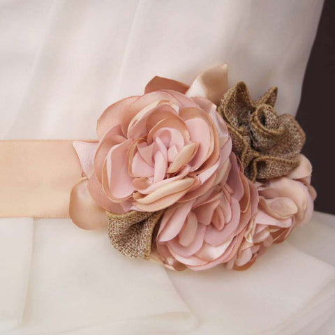 Blush Wedding Sash with Blush Satin and Burlap Flowers - Ellie Wren