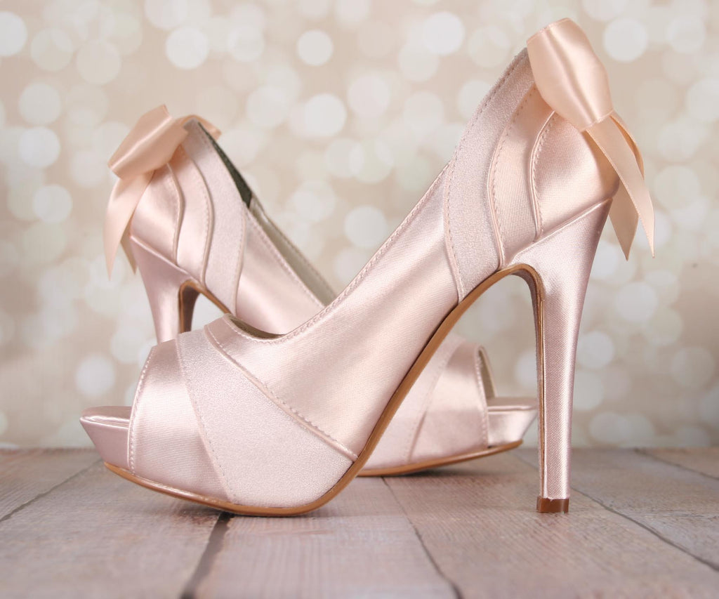 ecfcfaf5c89 ... Blush Open Toe Platform Wedding Shoes with Matching Bow - Ellie Wren ...