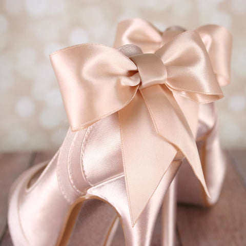 Blush Open Toe Platform Wedding Shoes with Matching Bow - Ellie Wren
