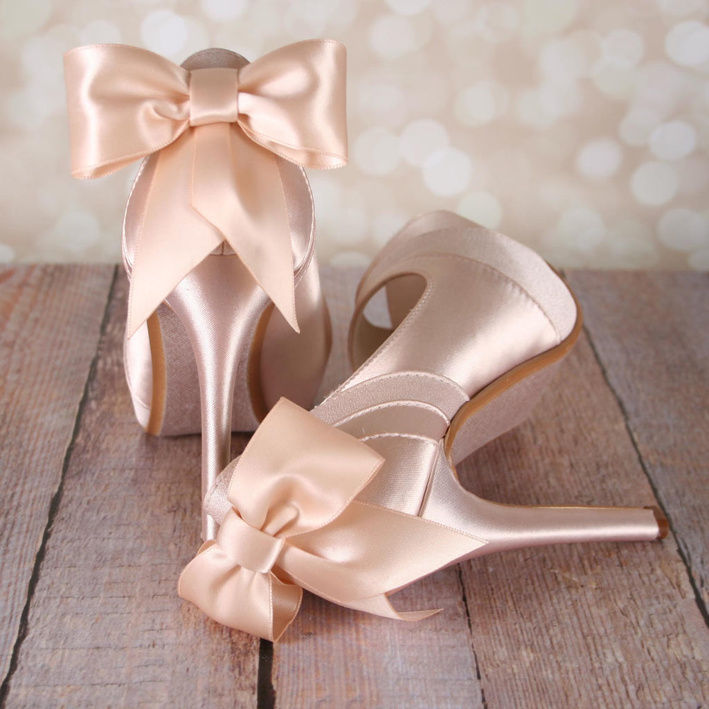 8e884796b385 ... Blush Open Toe Platform Wedding Shoes with Matching Bow - Ellie Wren ...