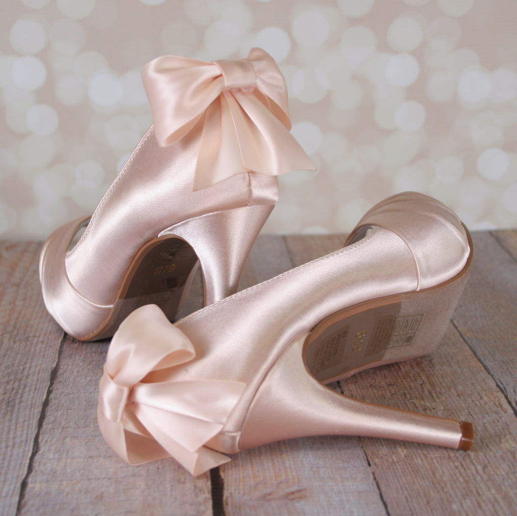 Bea Wedding Shoes with Matching Bow - Ellie Wren
