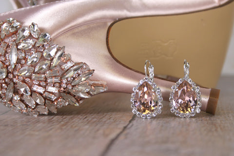 Vintage Rose Swarovski Crystal Drop Earrings - Ellie Wren