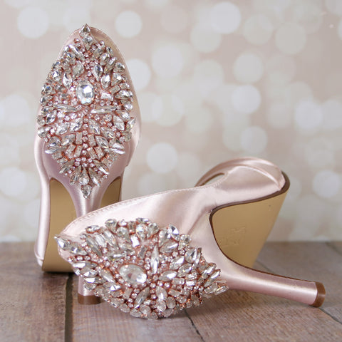 Blush D'Orsay Peep Toes with Silver and Rose Gold Applique - Ellie Wren