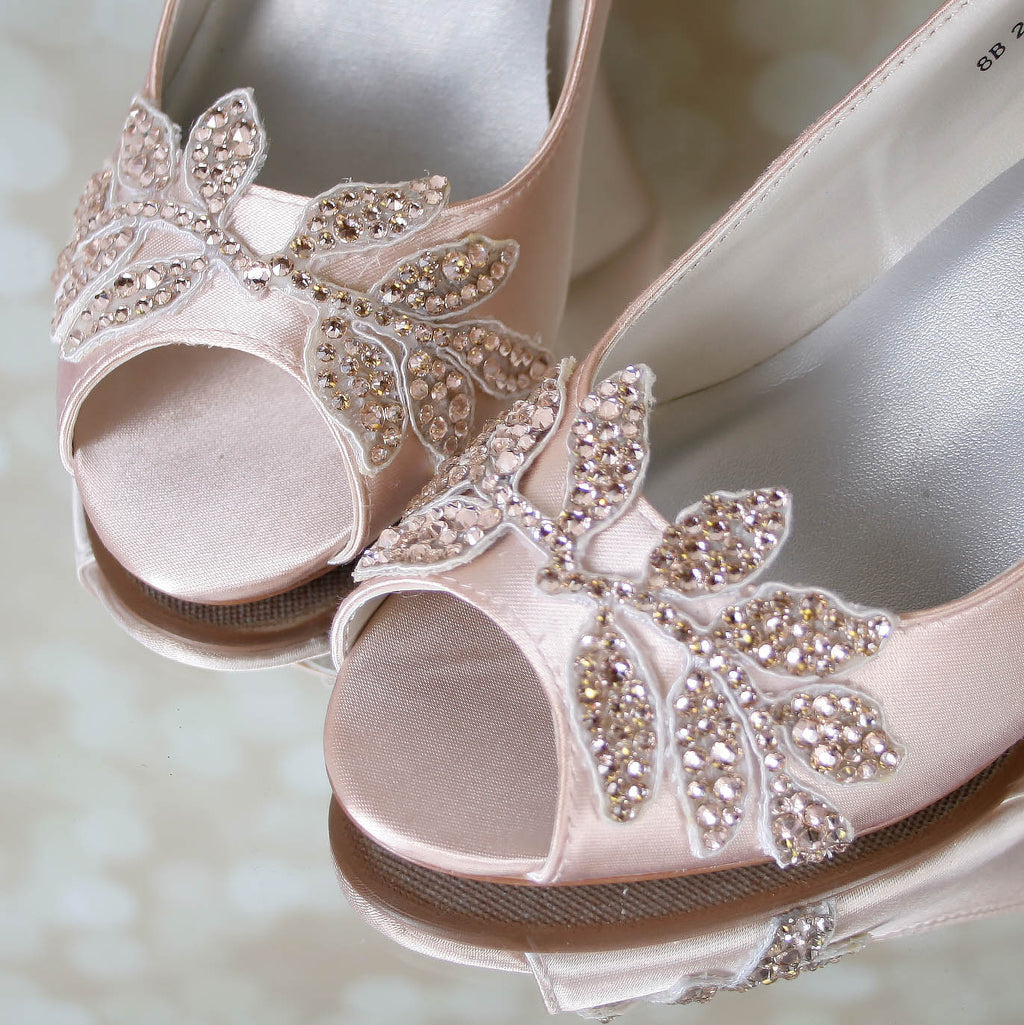 83eec30376c8 ... Blush Wedge Wedding Shoes with Sparkly Crystal Leaf Appliqué - Ellie  Wren ...