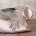 Blush Wedge Wedding Shoes with Sparkly Crystal Leaf Appliqué - Ellie Wren