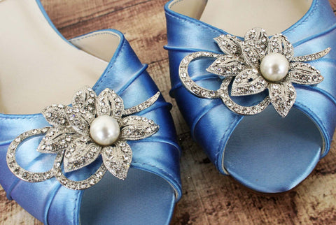 Cornflower Blue Low Heel Wedding Shoes with Sparkly Crystal and Pearl Floral Brooch - Ellie Wren