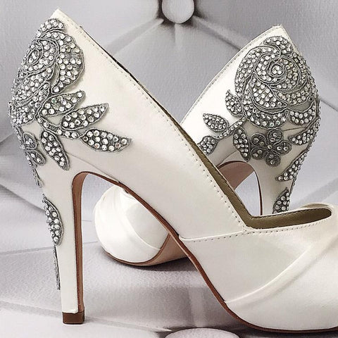 Ivory Vintage Inspired Wedding Shoes with Crystal Rose Heel - Ellie Wren