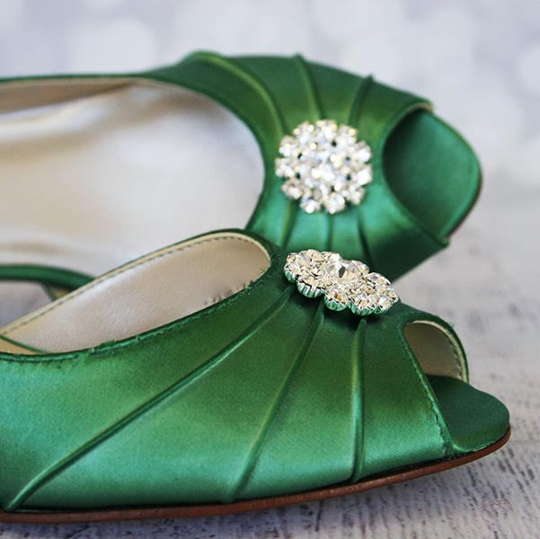 3bdc95959c9 ... Emerald Green Low Heel Wedding Shoes with Simple Sparkly Crystal Brooch  - Ellie Wren ...