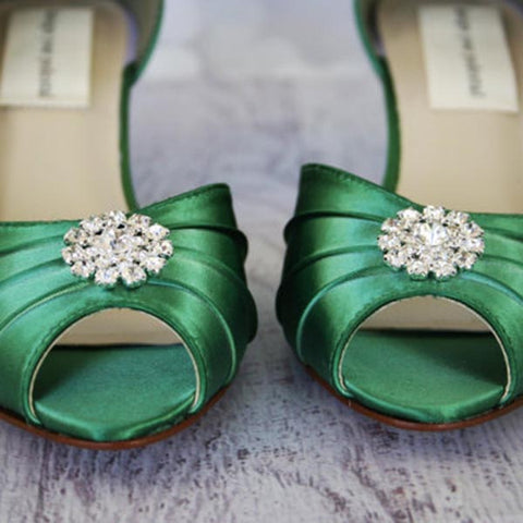 Emerald Green Low Heel Wedding Shoes with Simple Sparkly Crystal Brooch - Ellie Wren