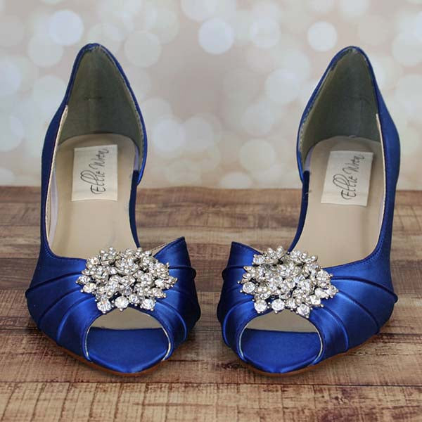 7b157757ed ... Royal Blue Low Heel Wedding Shoes with Sparkly Brooch - Ellie Wren ...