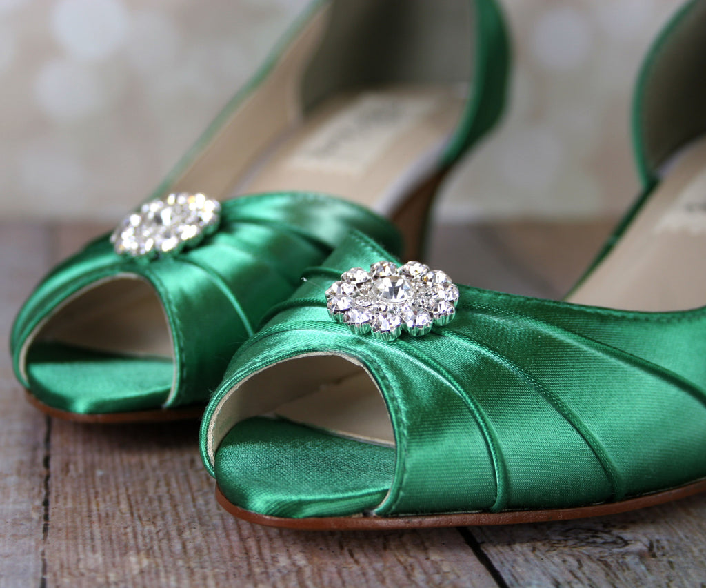 3d5400c8303 Emerald Green Abby Wedding Shoes with Simple Rhinestone Adornment (Color  May Be Customized) -. Images   1   2   3 ...