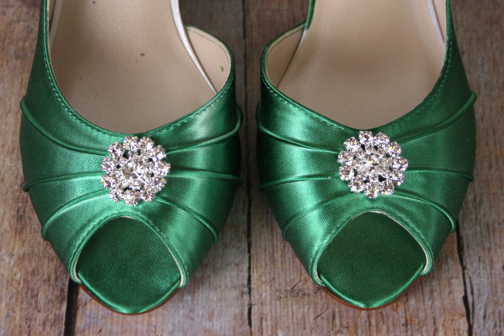 13a4c1ac0a8 Emerald Green Abby Wedding Shoes with Simple Rhinestone Adornment (Color  May Be Customized) -. Images   1   2   3   4   5   6 ...