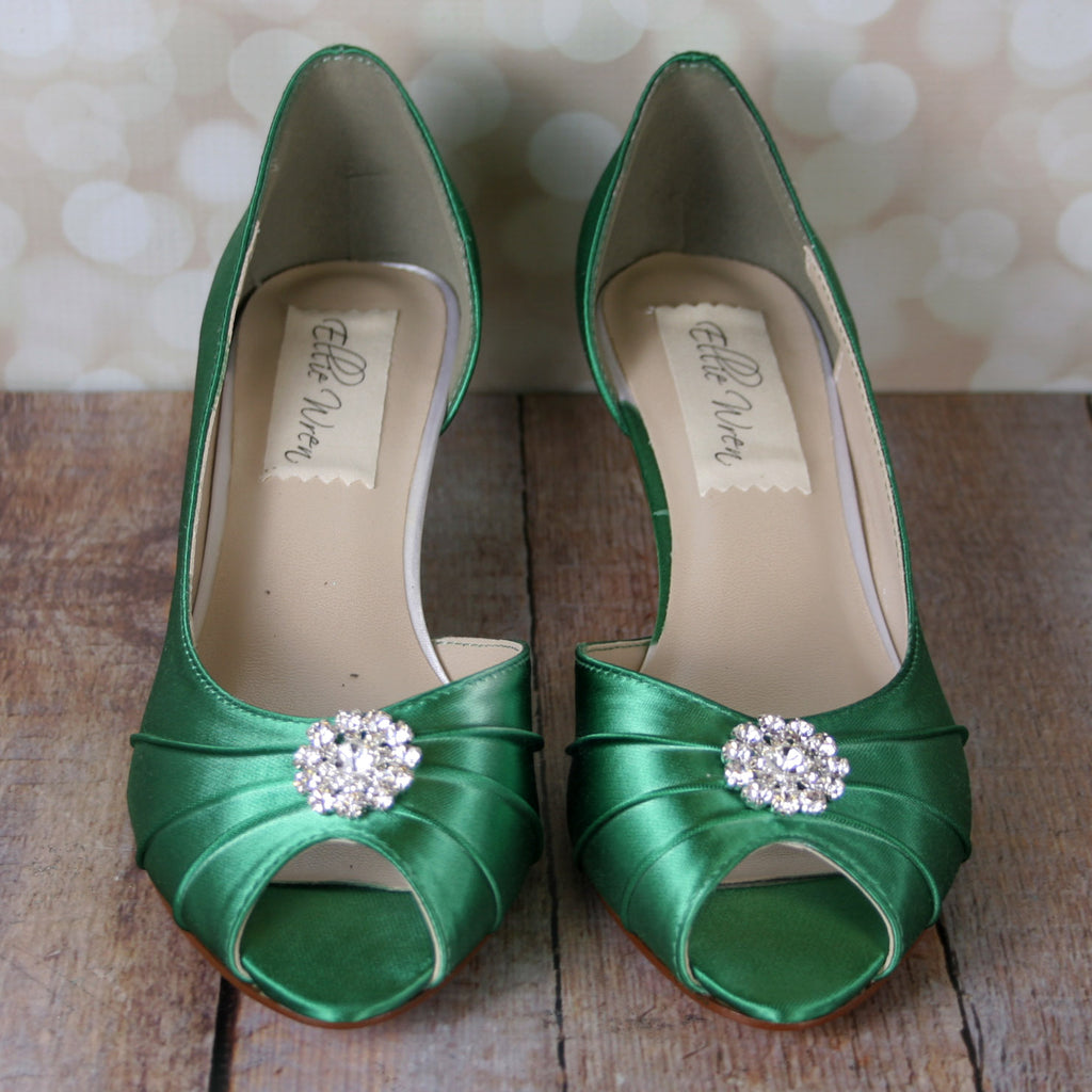 Emerald Green Abby Wedding Shoes with Simple Rhinestone Adornment (Color May Be Customized) - Ellie Wren