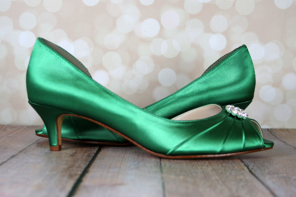 designer fashion new product huge sale Emerald Green Low Heel Wedding Shoes with Simple Sparkly Crystal ...