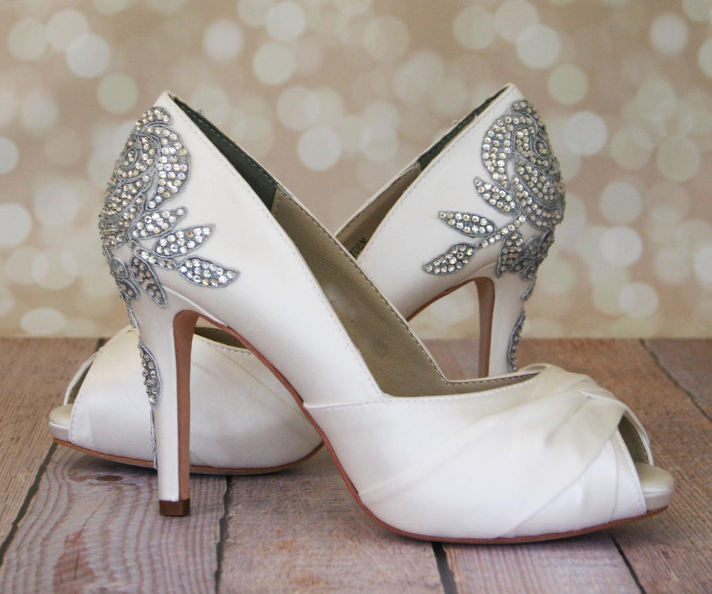 Charmant ... Ivory Platform Peep Toe Wedding Shoes With Crystal Rose Applique    Ellie Wren ...