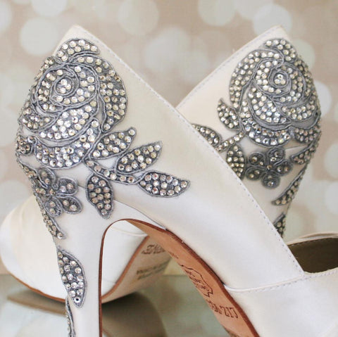 Ivory Mackenzie Wedding Shoes with Silver Crystal Rose Applique (Color May Be Customized) - Ellie Wren