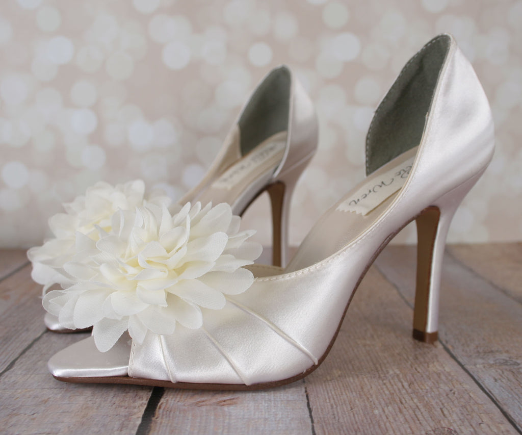 94628004cff ... Flash Wedding Shoes with Puffed Chiffon Flower on Toe - Ellie Wren ...