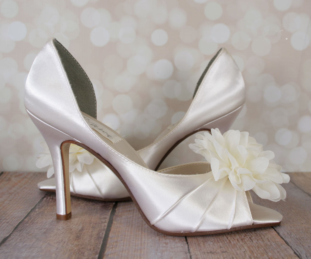 cd8f9bf7dd3 ... Flash Wedding Shoes with Puffed Chiffon Flower on Toe - Ellie Wren