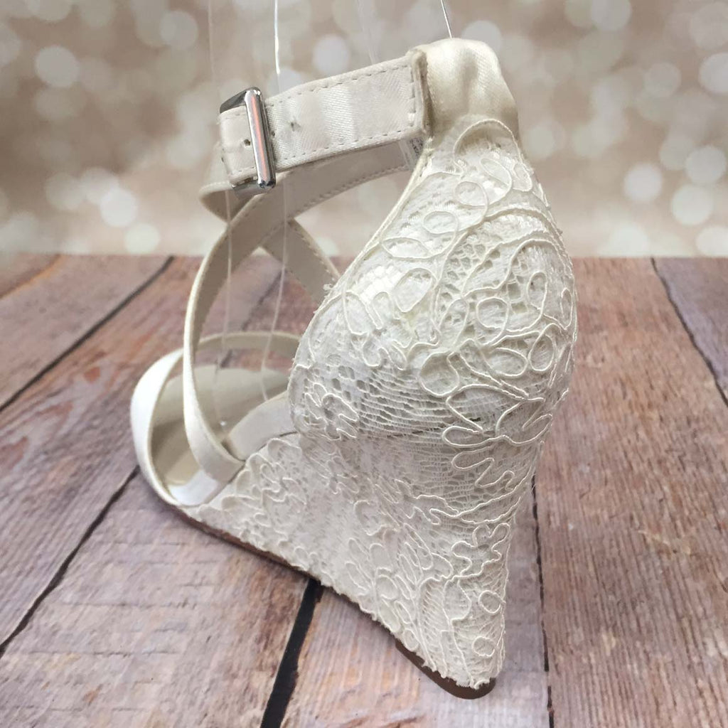 Ivory Jenna Wedding Shoes with Lace Overlay Heel (Color May Be Customized) - Ellie Wren