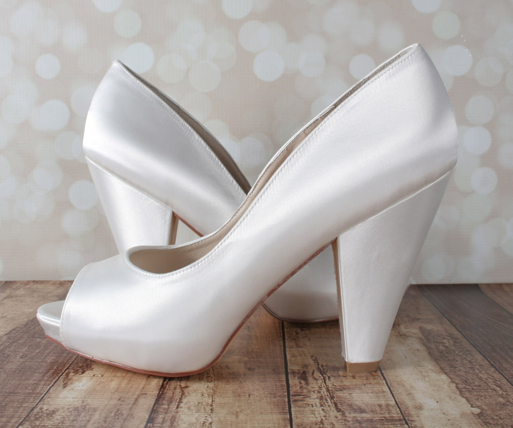Ivory Kate Wedding Shoes by Ellie Wren (Color May Be Customized) - Ellie Wren
