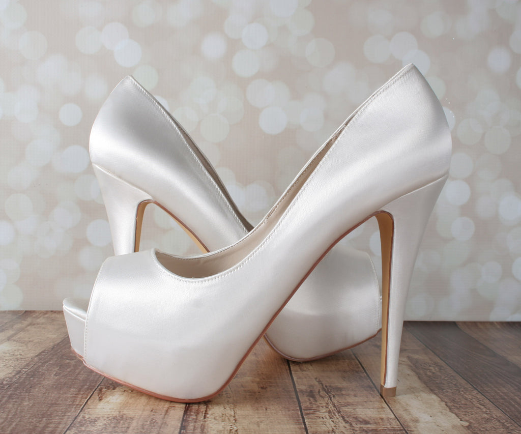 Ivory Kristy Wedding Shoes by Ellie Wren (Color May Be Customized) - Ellie Wren