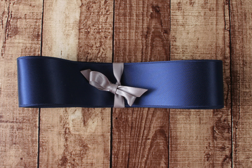 Simple Satin Wedding Dress Sash in Navy Blue - Ellie Wren
