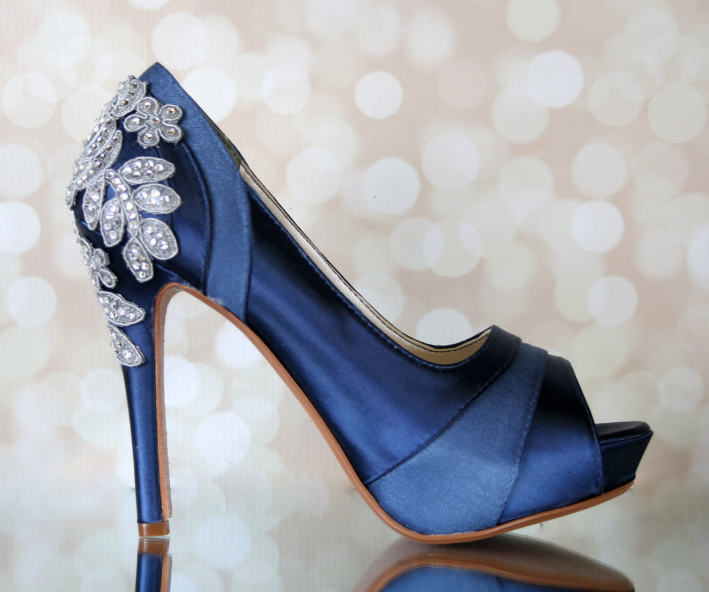 df639824ab8f Navy Blue Vintage Inspired Wedding Shoes with Crystal Rose Heel